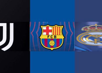 """(COMBO) This combination of file pictures made on May 8, 2021, shows the logos of the following European football clubs: (L-R) Juventus Italian Serie A football club on April 21, 2021 at the Juventus stadium in Turin; Spanish football club Barcelona's logo at the Camp Nou stadium in Barcelona, on April 19, 2021, Spanish football club Real Madrid's logo at the Olympic Stadium in Kiev, on May 26, 2018. – Real Madrid, Barcelona and Juventus on May 8, 2021 defended the aborted Super League project after the nine other clubs agreed to pay a financial penalty to UEFA for their involvement. The three clubs said they had received """"unacceptable"""" threats from UEFA and FIFA since the project collapsed just two days after it was announced last month when six Premier League clubs and three other teams pulled out. (Photo by Marco BERTORELLO / AFP)"""