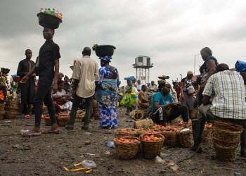 Vendors display tomatoes for sell at Mile 12 market in Lagos, food prices remain high despite drop in inflation rate to 17.93% in May 2021, on July 7, 2021.  The World Bank said the countrys surging inflation and rising prices had pushed an estimated seven million Nigerians below poverty line in 2020. This rise in the food index was caused by increases in prices of Bread, Cereals, Milk, Cheese, Eggs, Fish, Soft drinks, Coffee, Tea and Cocoa, Fruits, Meat, Oils and fats, and Vegetables. (Photo by Olukayode Jaiyeola/NurPhoto via Getty Images)
