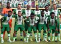 Nigeria's players line up before the 2022 Qatar World Cup African qualifiers group 3 football match between Nigeria and Central Africa Republic at the Teslim Balogun Stadium, in Surulere in Lagos State, on October 7, 2021. (Photo by PIUS UTOMI EKPEI / AFP)
