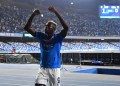 Vìctor Osimhen celebrates after scoring for Napoli during the Serie A match against Cagliari at the Diego Armando Maradona Stadium on September 26, 2021. Photo by SSC Napoli.