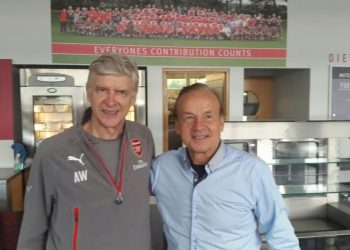 Gernot Rohr poses with Arsene Wenger during the former's visit to London's Emirates Stadium. Photo: NFF