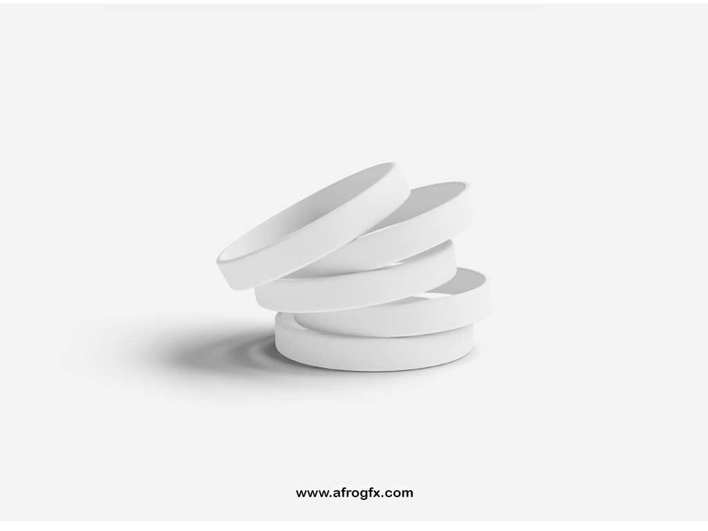 Silicone Wristband Mockup Set