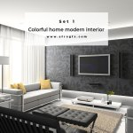 Colorful home modern interior Set 1 Stock Photo