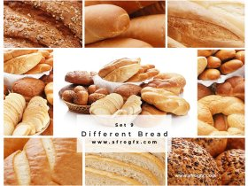 Different Bread Set 9 Stock Photo