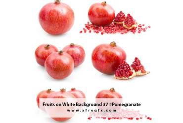 Fruits on White Background 37 #Pomegranate