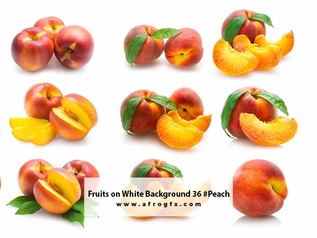 Fruits on White Background 36 #Peach