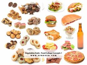Vegetable and fruits - Food Collage Concepts 1 - Stock Photo