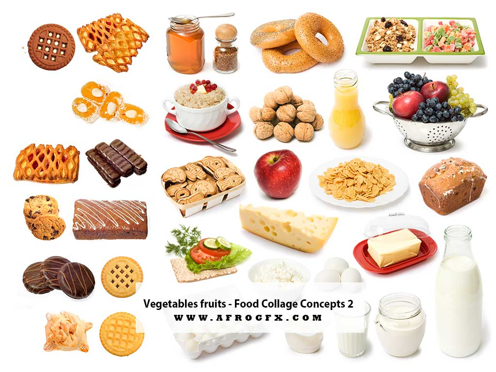 Vegetable & fruits - Food Collage Concepts 2 - Stock Photo