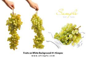 Fruits on White Background 41 #Grapes