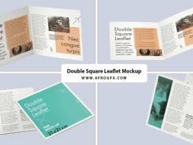 Free double square leaflet mockup