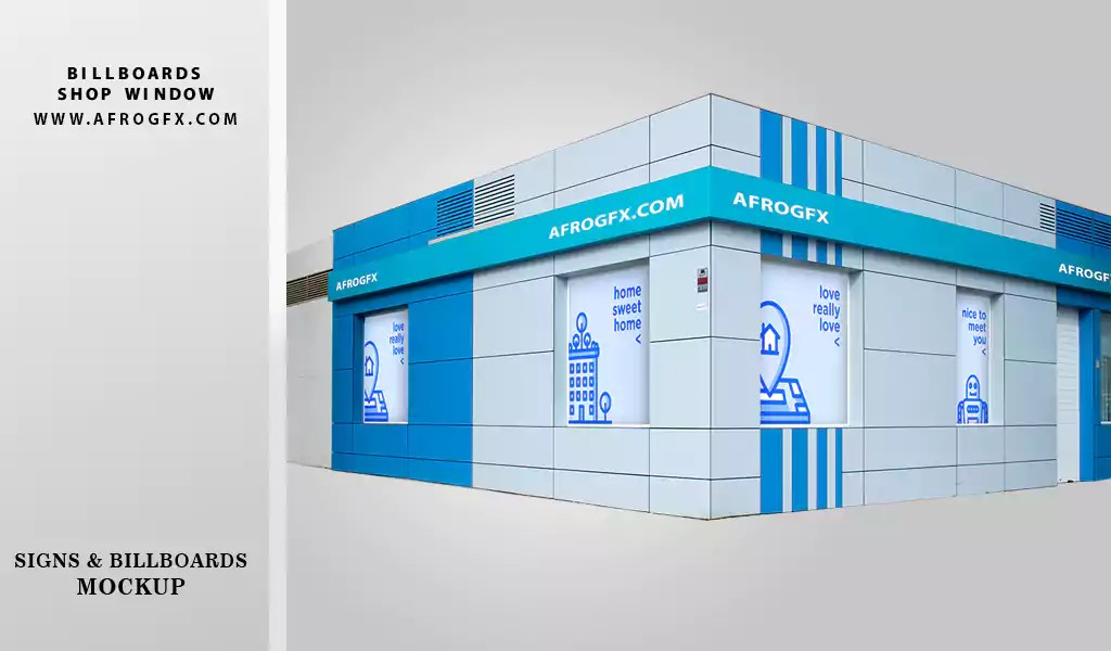 Free Signs and Billboards mockup on shop window