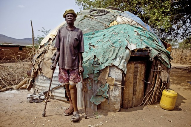Loboyi Monoo became a beggar in Lokichoggio town in Turkana after his legs were amputated during a raid by cattle rustling