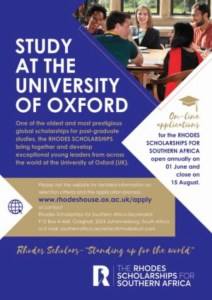 Rhodes West Africa Scholarship for study at the University of Oxford
