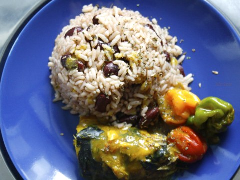 rice and peas and coconut curry mackerel