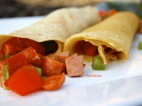 savory nigerian crepes and sausage