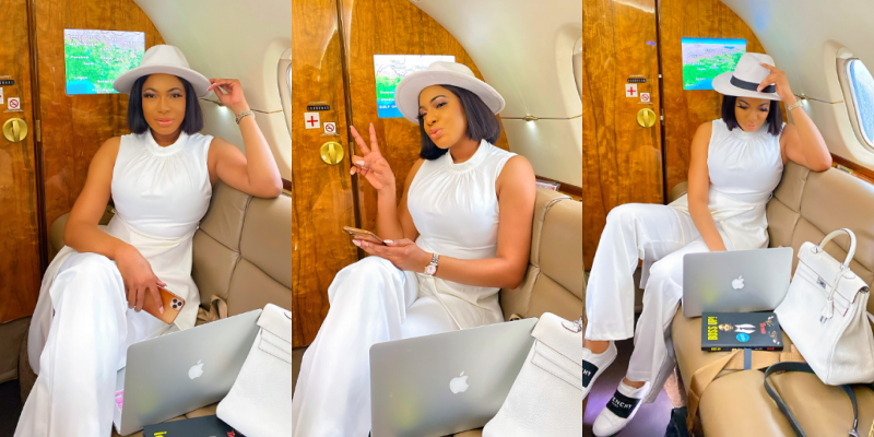 Alleged Regina Daniels' nightmare, Chika Ike gives us boss vibes in private jet