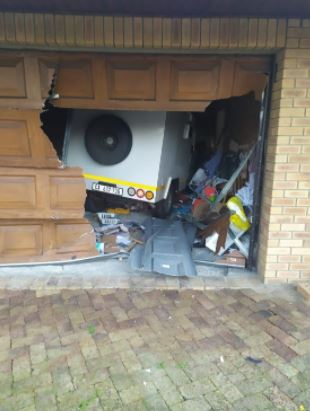 Cash van lands into home as driver flee from robbers