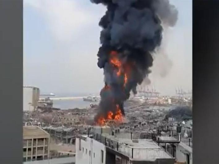 Photos: Massive fire erupts in Beirut port area, one month after explosion