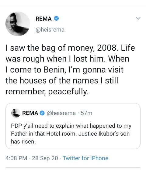 Rema Tells PDP To Explain How His Father Died