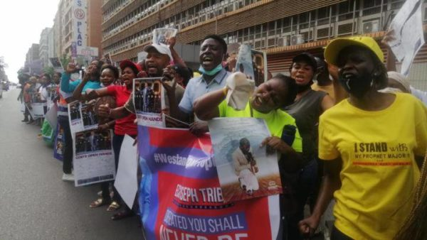 Supporters of Bushiri protest outside court