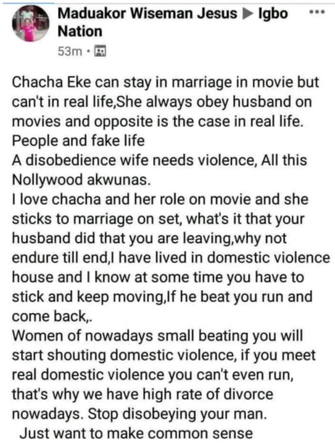 """A disobedient wife needs violence"""" – Father of two slams actress Chacha Eke for ending her marriage"""