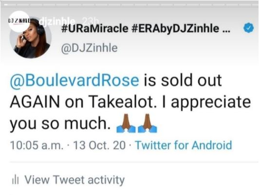 """Boulevard Rose is sold out again on Takeaot""- DJ Zinhle announced"