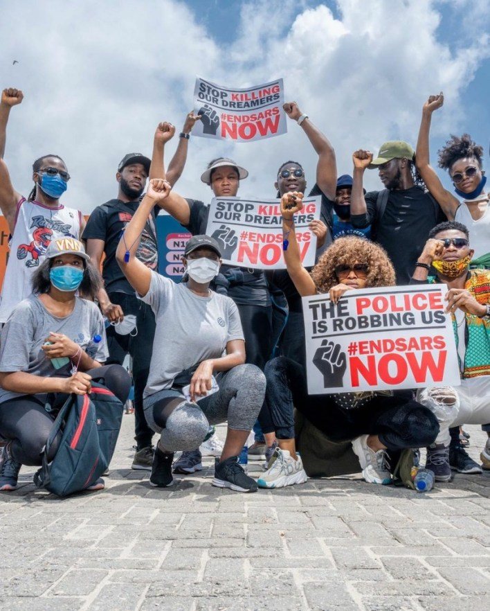#EndSARS: Omotola And Family Joins Protest (Photo)