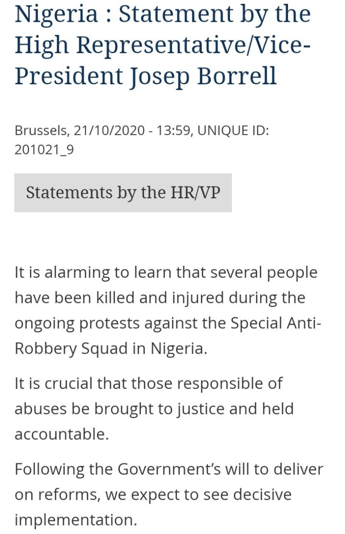 European Union Reacts To The Shooting Of Unarmed #EndSARS Protesters In Nigeria