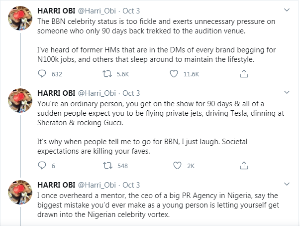 "Media personality, Harri Obi claims some former BBNaija housemates ""beg for jobs, sleep around"""