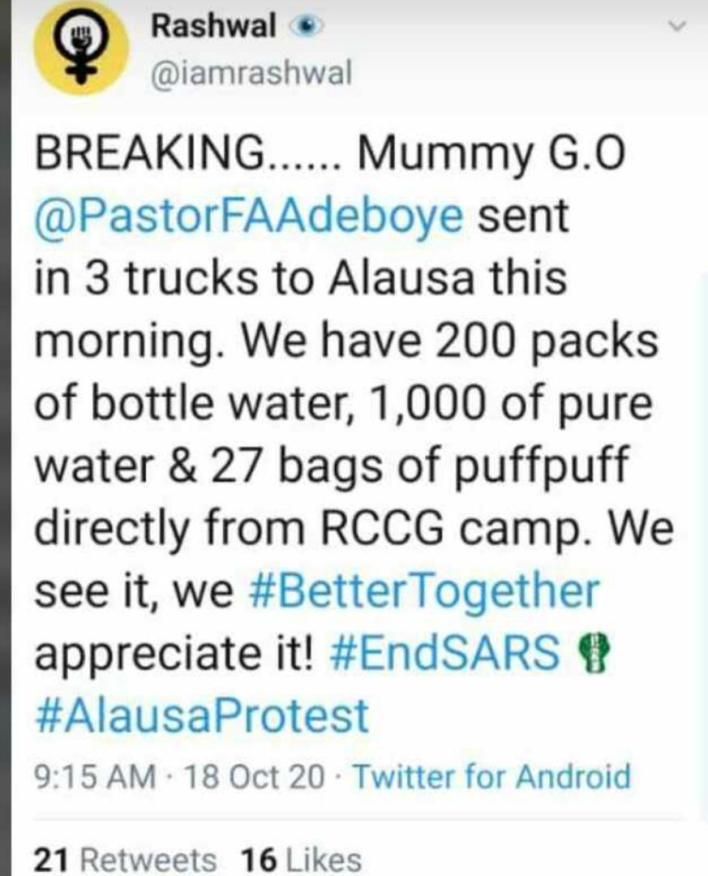 Pastor Adeboye's wife feeds thousands at Lagos #EndSars protest