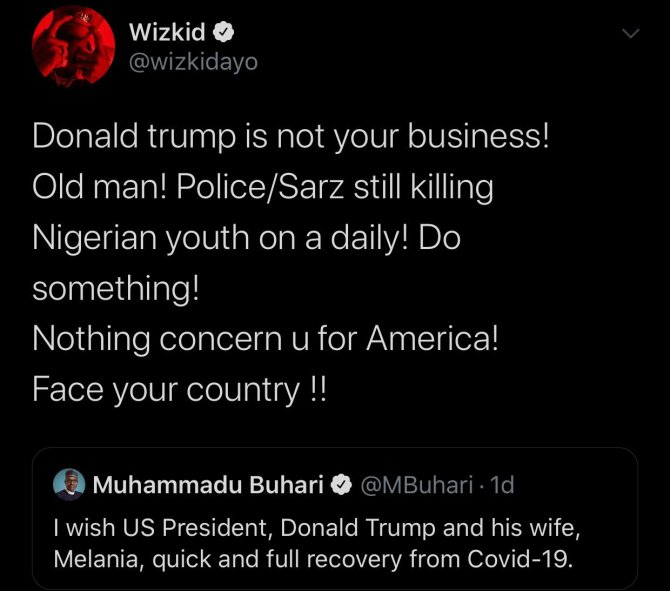#EndSars: Trump isn't your business, face your country – Wizkid blasts Buhari