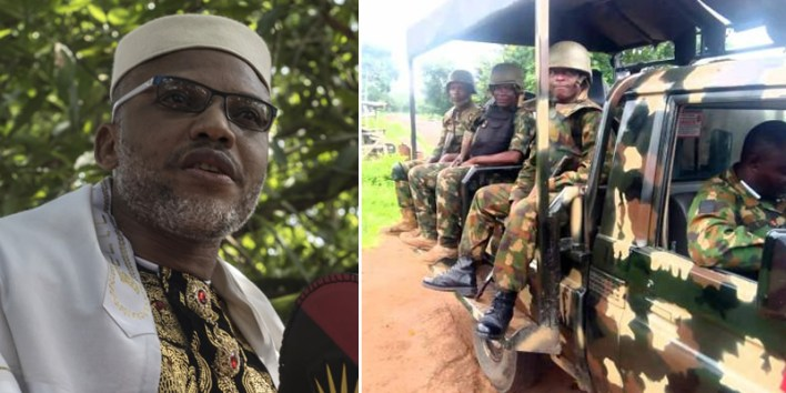 VIDEO: Nnamdi Kanu Claims Soldiers Are Searching Houses, Looking For Biafrans To Kill
