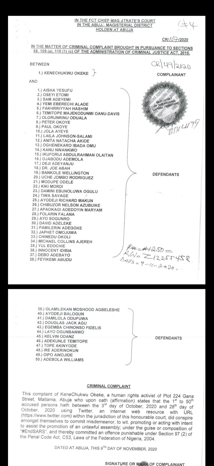 EndSARS: Court orders police to probe Falz, Aisha Yesufu, Sam Adeyemi, Davido, 46 others [Full list]
