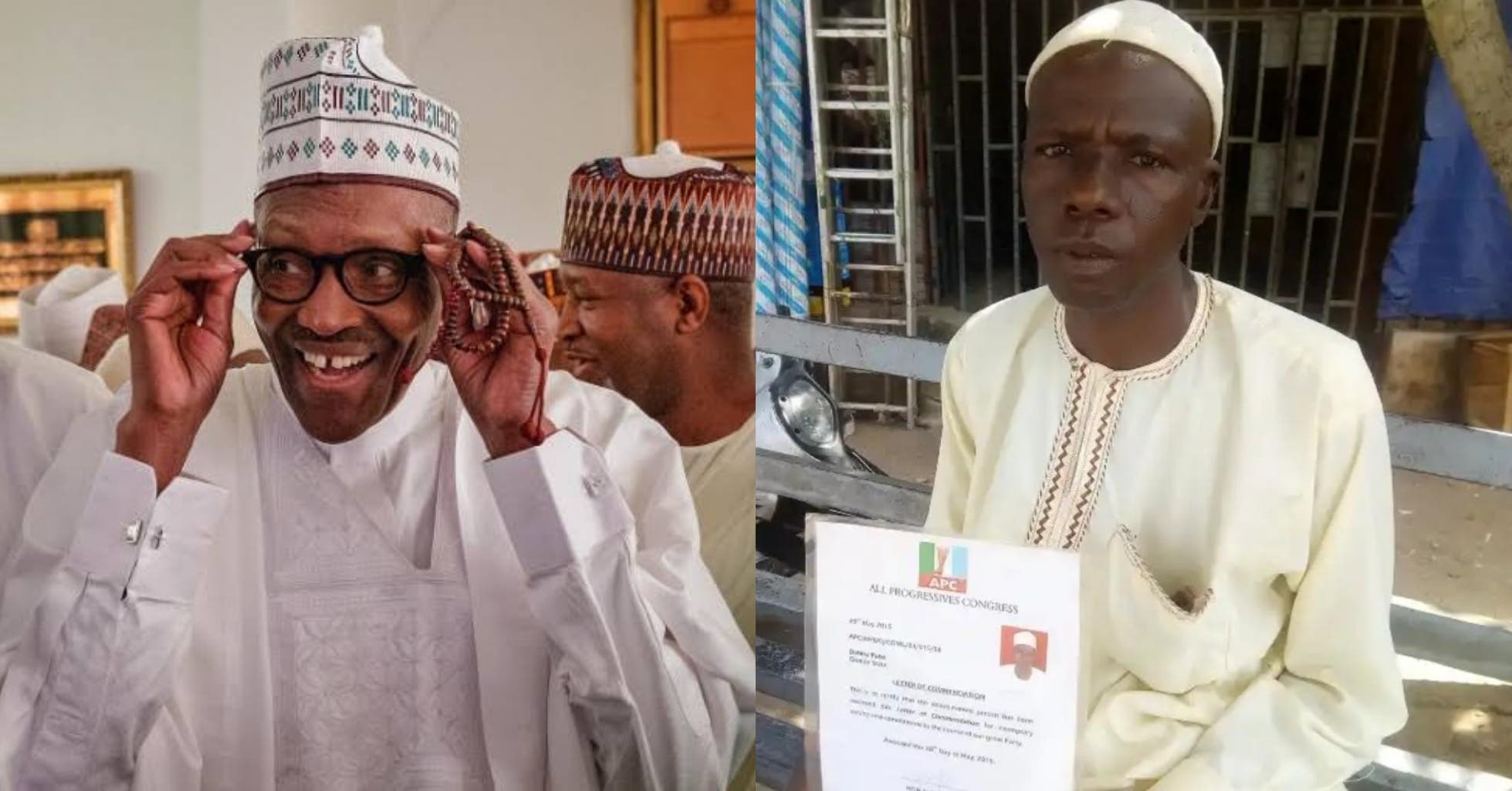 PHOTOS: Man Who Trekked For Buhari's Victory Gets A Car, N2m After Five Years