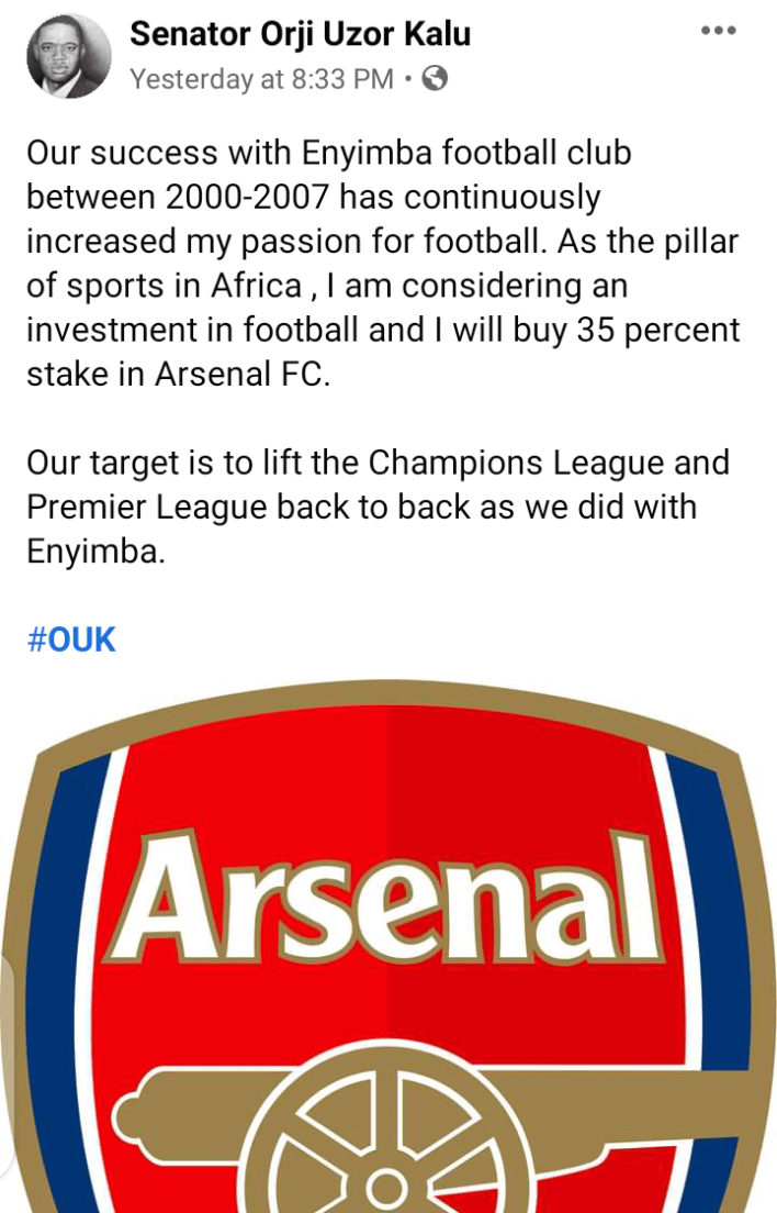 Orji Uzor Kalu reveals plan to buy 35% stake at Arsenal FC, hints on expectations
