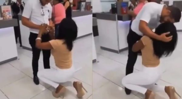 Lady boldly proposes to boyfriend in public – Watch