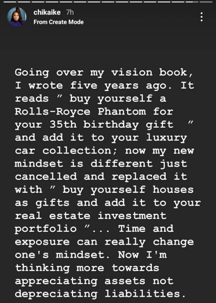 Why I didn't bother buying a Rolls Royce Phanthom to celebrate my 35th birthday – Actress, Chika Ike reveals