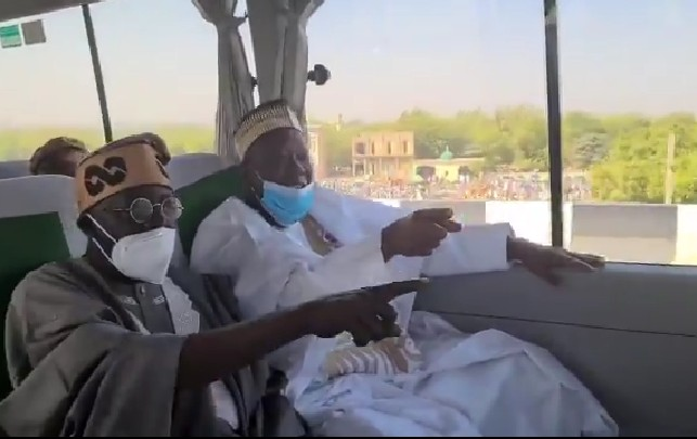PHOTOS: Tinubu visits Kano, goes on ride with 'Dollar-pocketing' governor, Ganduje