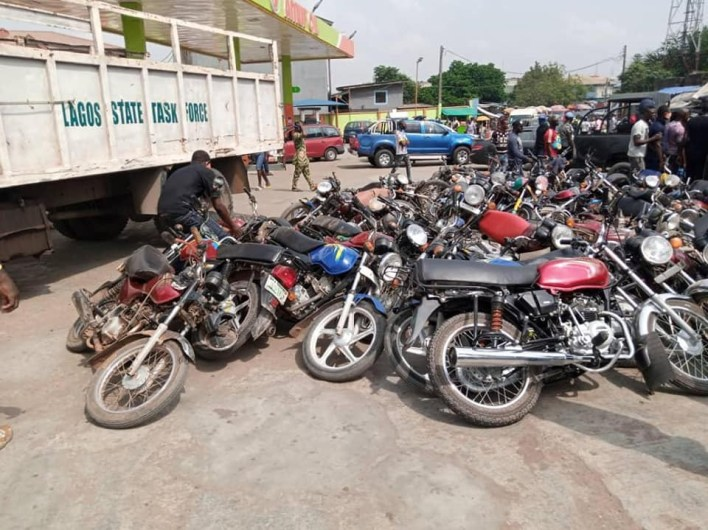 Police arrest 10 persons for attacking Lagos taskforce officers as Govt impounds 96 motorcycles