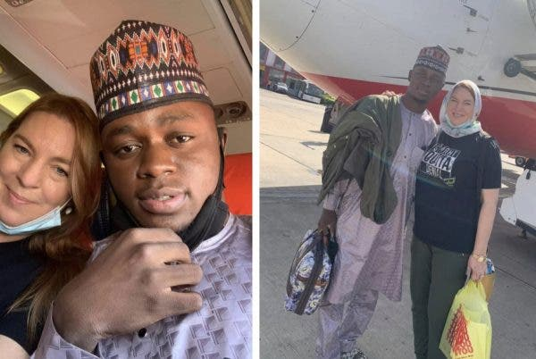 26-year-old Kano man who married 46-year-old American departs Nigeria to US (Photos)