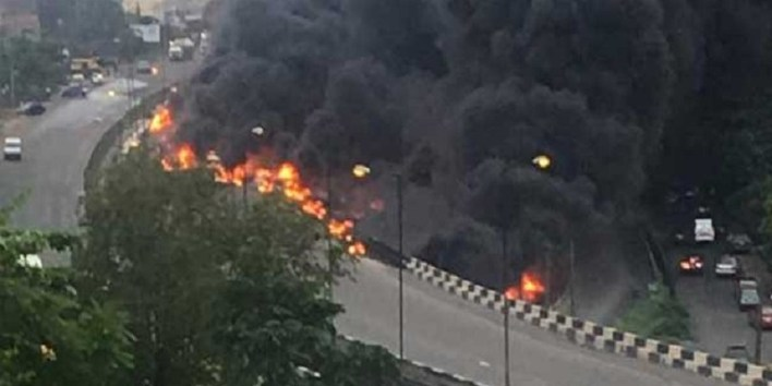 BREAKING: Again, Tanker Explosion Rocks Otedola Bridge In Lagos