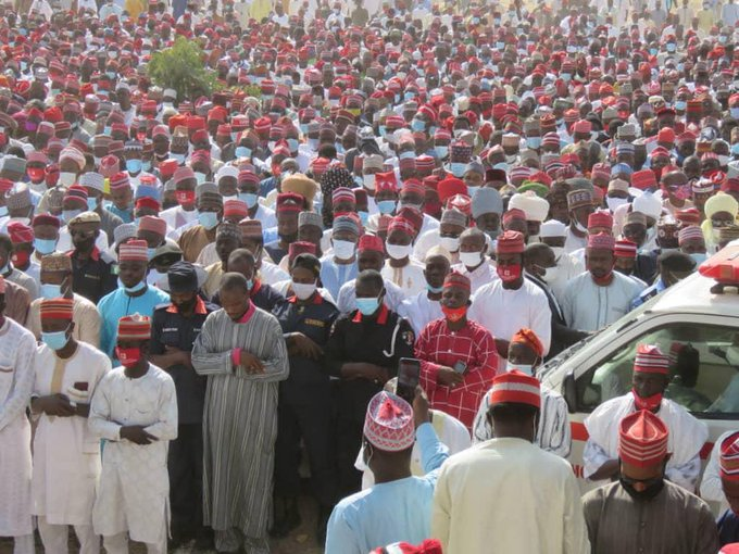 Massive crowd storm Kano as remains of Kwankwaso's father laid to rest (PHOTOS)