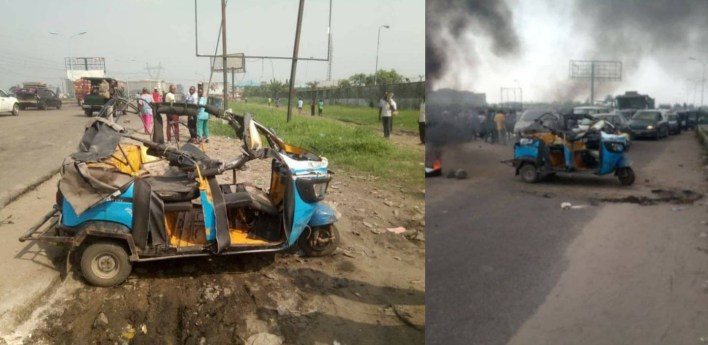 PHOTOS: Police vehicle chasing suspected internet fraudsters allegedly kill mother, child in Warri