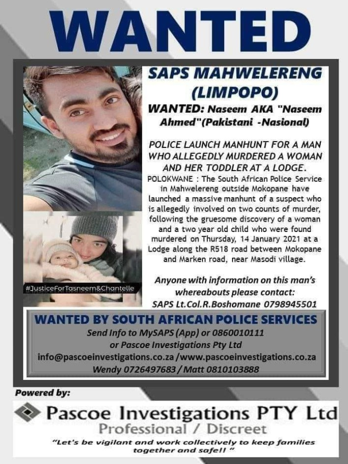 PHOTOS: Police arrest man for killing his girlfriend and their 9-month old daughter in South Africa