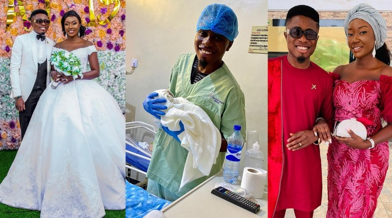 PHOTOS: Nigerian Comedian, Edo Pikin And Wife Welcome First Child; A Boy
