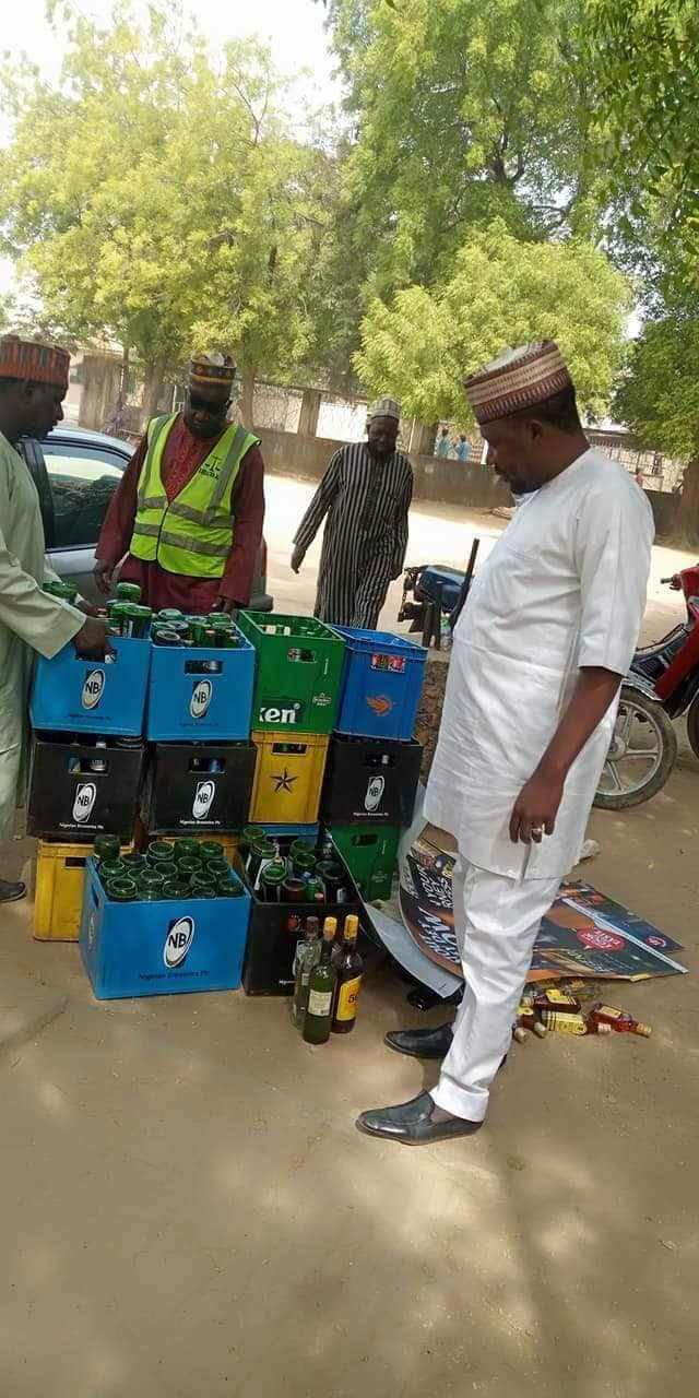 PHOTOS: Bauchi Hisbah Confiscates 260 Crates Of Alcoholic Drinks From Hotels, Nightclubs