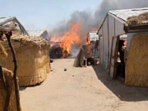 PHOTOS: Fire razes IDPs camp, kills infant, injures others in Borno