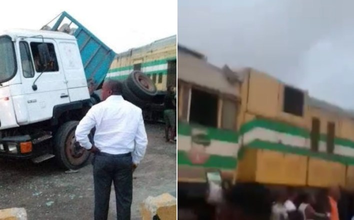 VIDEO: Train, truck collide in Lagos