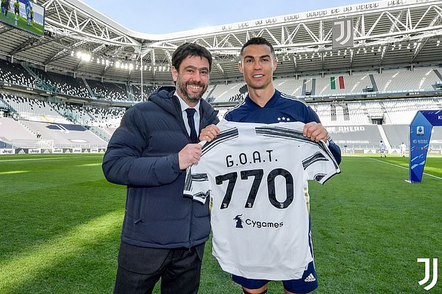 PHOTOS: Cristiano Ronaldo presented with special 'G.O.A.T' shirt after scoring record breaking 770th goal