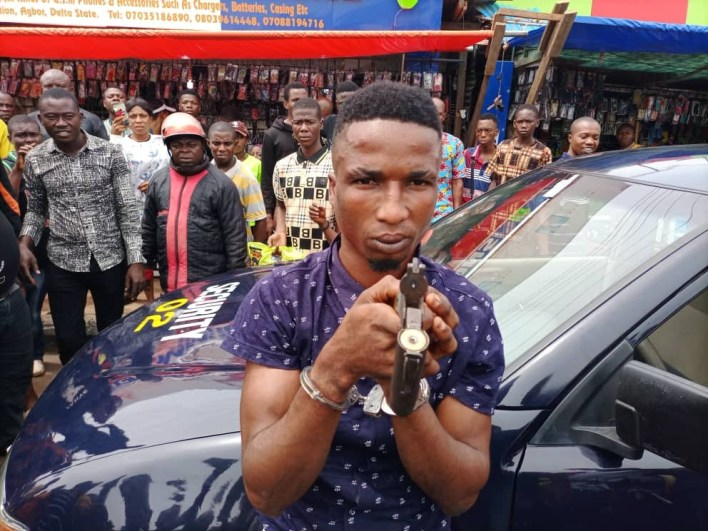 PHOTOS: Suspected cultist paraded for alleged illegal possession of firearm, attempted murder in Delta